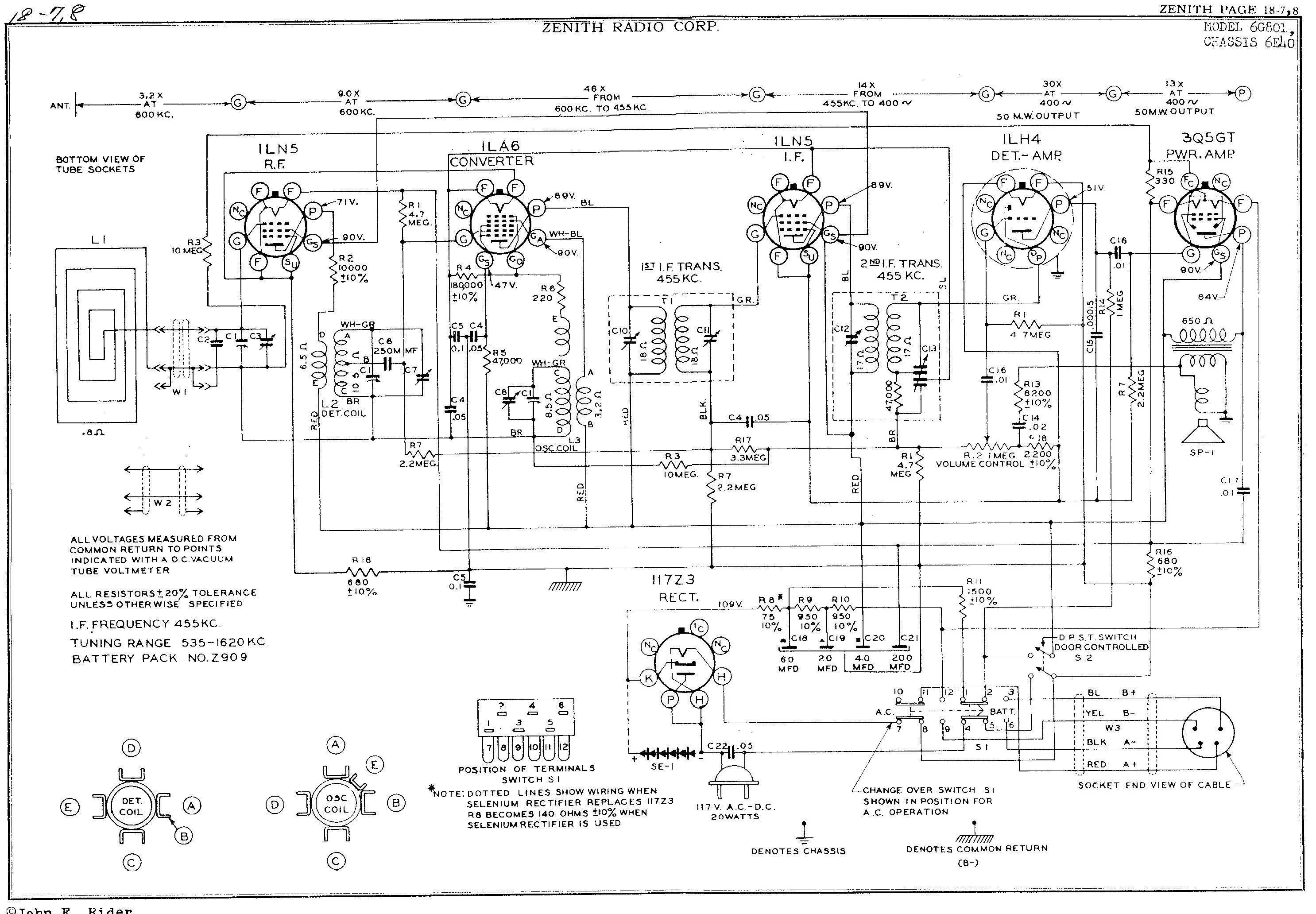 James's Zenith 6g801y Repairrestoration Project. Zenith 6g801y Schematic Click For Larger. Wiring. Zenith Tube Radio Schematics Model 6s At Scoala.co